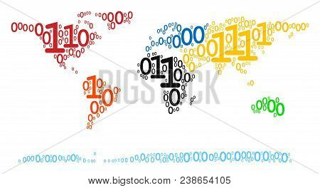 World Continent Map Composition Icon Of Zero And Null Digits In Variable Sizes. Vector Digital Symbo