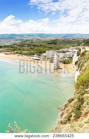 Vieste, Italy, Europe - Looking Onto Vieste From A Viewpoint Near To The Fortress