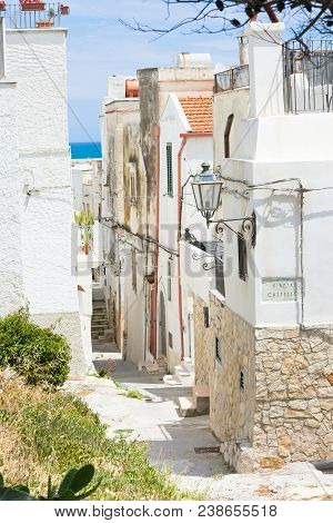 Vieste, Italy, Europe - View Into An Historic Alleyway Of Vieste