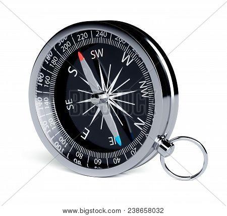 Black Chrome Compass Isolated On White Background. 3d Rendering Illustration