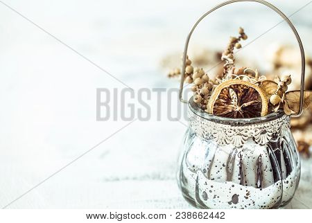 Still Life With A Decorative Vase On A Light Wooden Background