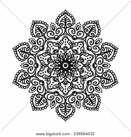 Mandala Tattoo Design Element. Round Ornament Decoration. Line Flower Pattern. Stylized Floral Motif