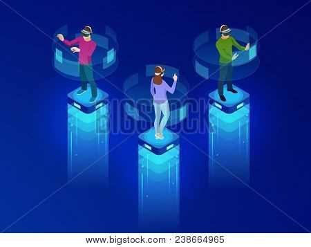 Isometric Men And A Woman Wearing Goggle Headset With Touching Vr Interface. Into Virtual Reality Wo