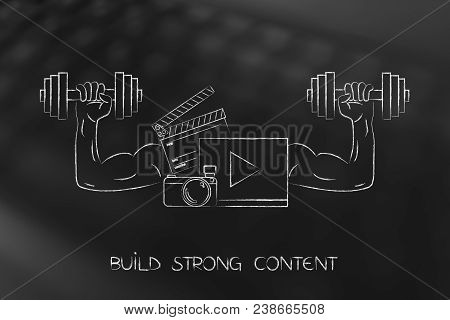 Build Strong Content Conceptual Illustration: Social Media Content With Muscled Arms Holding Dumbbel