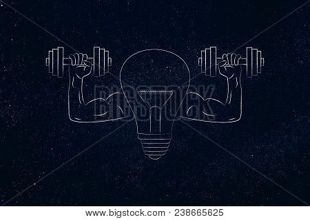 Build Innovation Conceptual Illustration: Strong Idea Light Bulb Symbol With Muscled Arms Holding Du