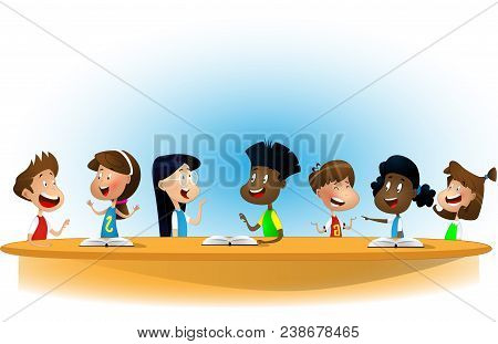 Multiracial Children Studying, Reading Books And Discuss Them. Kids Talking To Each Other At School