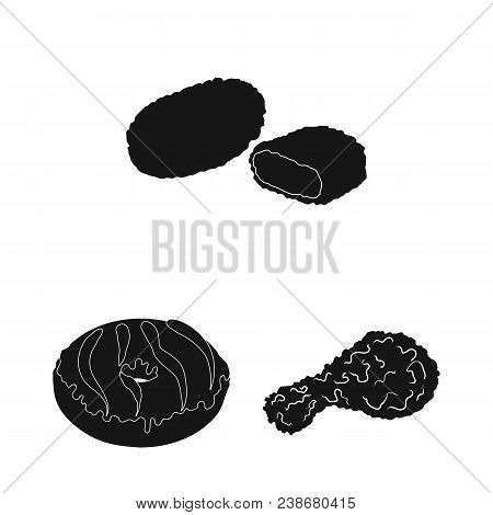 Fast Food Black Icons In Set Collection For Design.food From Semi-finished Products Vector Symbol St