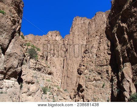 Scenic African Rocky Slope Todgha Gorge Canyon Landscapes In Morocco At High Atlas Mountains Range A