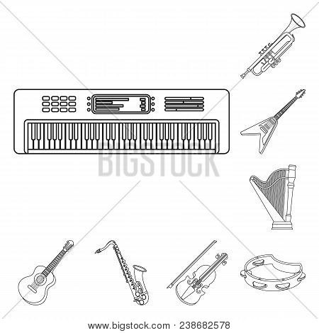 Musical Instrument Outline Icons In Set Collection For Design. String And Wind Instrument Vector Sym