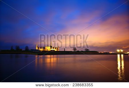 Kronborg Castle At Night Seen From Elsinore Harbour