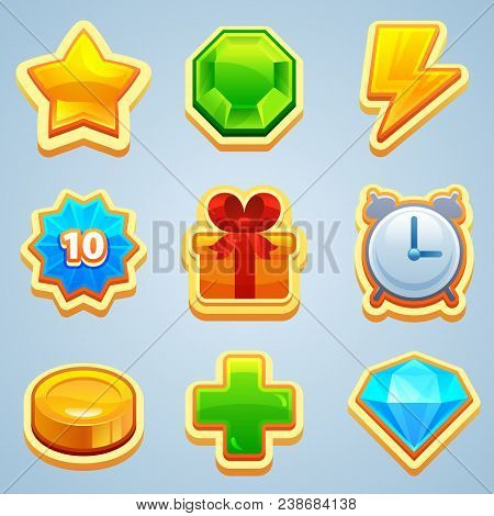 Game Icons. Different Symbols And Icons Of Game Elements. Vector