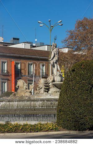 Madrid, Spain - January 22, 2018: Neptuno Fountain And Thyssen Bornemisza Museum In City Of Madrid,
