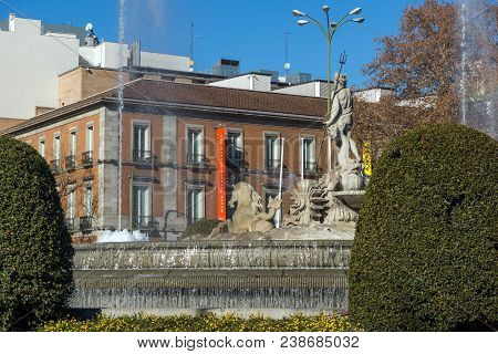 Madrid, Spain - January 22, 2018: Neptuno Fountain And Thyssen Bornemisza Museum In City Of Madrid,