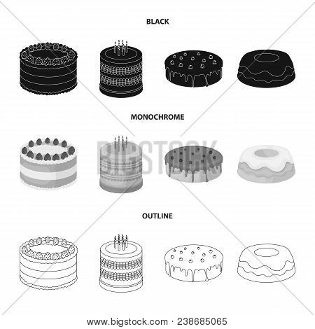 Sweetness, Dessert, Cream, Treacle .cakes Country Set Collection Icons In Black, Monochrome, Outline