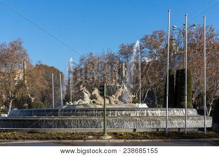 Madrid, Spain - January 22, 2018: Neptuno Fountain In City Of Madrid, Spain
