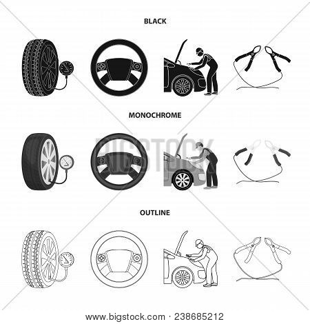 Engine Adjustment, Steering Wheel, Clamp And Wheel Black, Monochrome, Outline Icons In Set Collectio