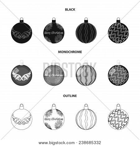 New Year Toys Black, Monochrome, Outline Icons In Set Collection For Design.christmas Balls For A Tr