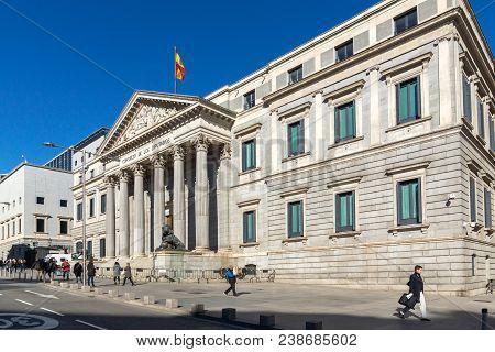 Madrid, Spain - January 22, 2018: Building Of Congress Of Deputies (congreso De Los Diputados) In Ci