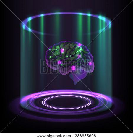 Vector Fictional Concept Of Luminous Cybernetic Human Brain Hologram On Dark Background