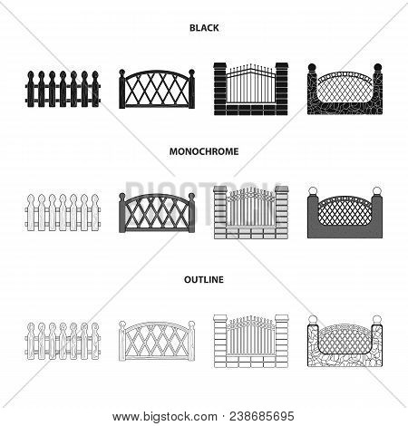 A Fence Of Metal And Bricks, Wooden Palisade. A Different Fence Set Collection Icons In Black, Monoc