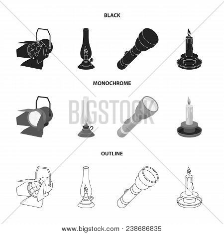 Searchlight, Kerosene Lamp, Candle, Flashlight.light Source Set Collection Icons In Black, Monochrom