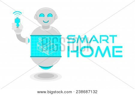 Modern Flat Cute Smile Smart Robot Support And Manage Remotely Your Smart Home Show Minimal Line Hol