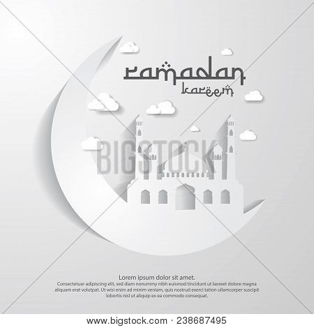 Ramadan Kareem Islamic Greeting Card Design With 3d Moon And Dome Mosque Element In Paper Cut Style.