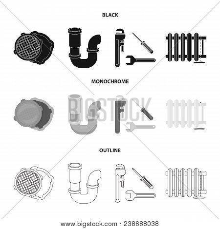 Sewage Hatch, Tool, Radiator.plumbing Set Collection Icons In Black, Monochrome, Outline Style Vecto