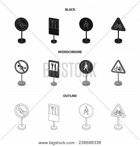 Different Types Of Road Signs Black, Monochrome, Outline Icons In Set Collection For Design. Warning