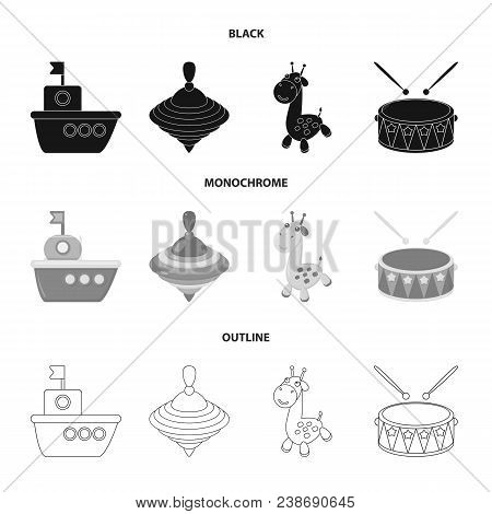 Ship, Yule, Giraffe, Drum.toys Set Collection Icons In Black, Monochrome, Outline Style Vector Symbo