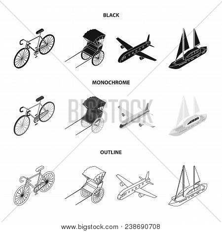 Bicycle, Rickshaw, Plane, Yacht.transport Set Collection Icons In Black, Monochrome, Outline Style V