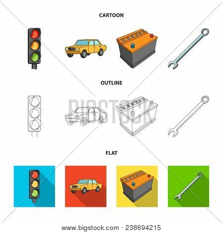 Traffic Light, Old Car, Battery, Wrench, Car Set Collection Icons In Cartoon, Outline, Flat Style Ve