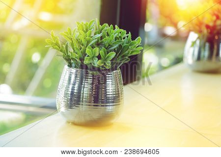 Plastic Leaves Of Small Tree In Aluminum Vase On Table Near Windows Decorate In Cafe, Relax In Coffe