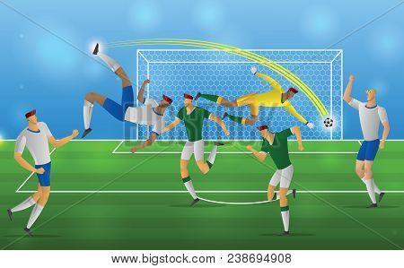Soccer Players Kick The Ball Stadium Background. Football Action Overhead Kick Vector Illustration.