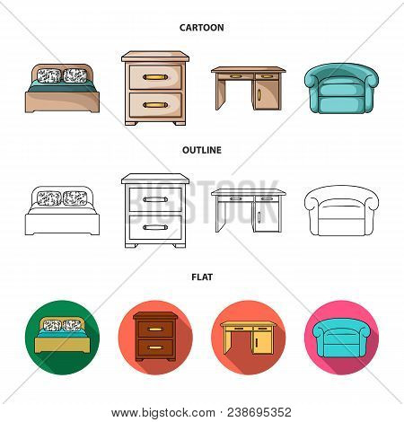 Interior, Design, Bed, Bedroom .furniture And Home Interiorset Collection Icons In Cartoon, Outline,