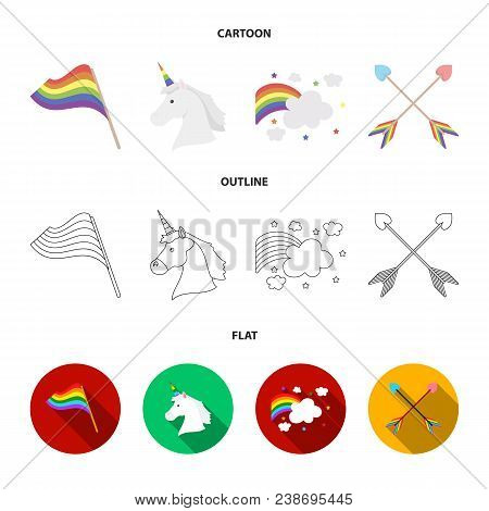 Flag, Unicorn Symbol, Arrows With Heart.gay Set Collection Icons In Cartoon, Outline, Flat Style Vec