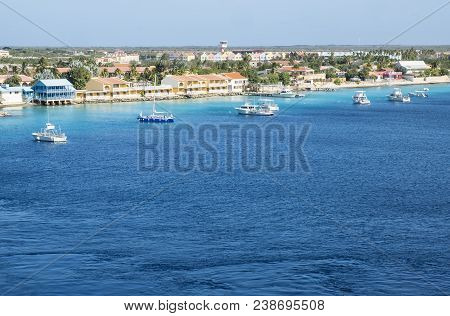 Looking At Kralendijk Harbor In Bonaire From A Cruise Ship