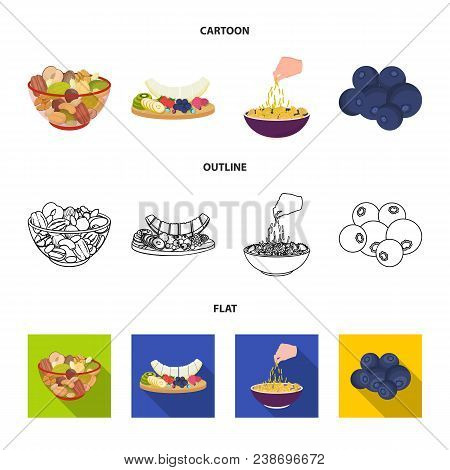 Assorted Nuts, Fruits And Other Food. Food Set Collection Icons In Cartoon, Outline, Flat Style Vect