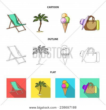 Beach, Palm Tree, Ice Cream.summer Vacation Set Collection Icons In Cartoon, Outline, Flat Style Vec