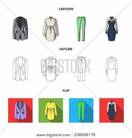 Women Clothing Cartoon, Outline, Flat Icons In Set Collection For Design.clothing Varieties And Acce