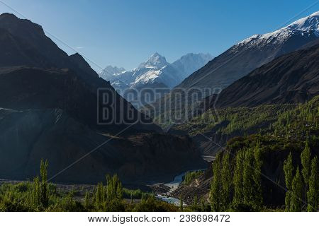 Valley Mountains Landscape, Forest And Mountain Range In Summer At Hunza Valley Pakistan
