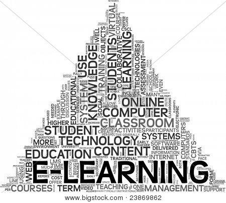 Concepto de E-learning y educación en nube sobre fondo blanco