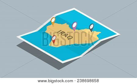 Explore Iraq Maps With Isometric Style And Pin Location Tag On Top Vector Illustration