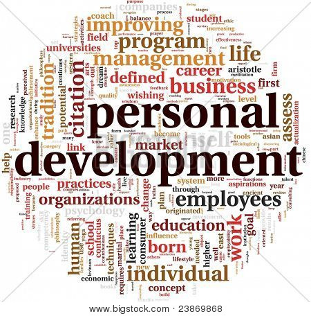 Personal development concept in word tag cloud on white poster