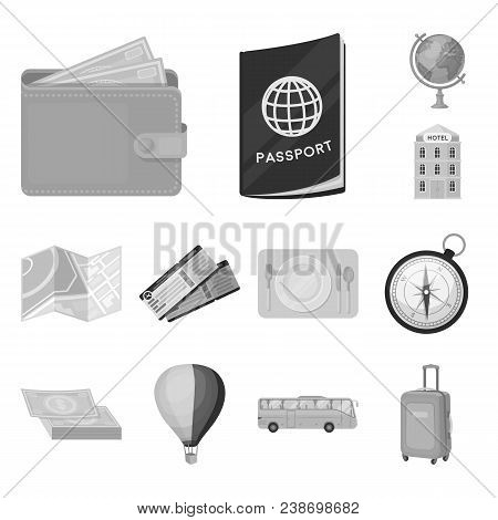 Rest And Travel Monochrome Icons In Set Collection For Design. Transport, Tourism Vector Symbol Stoc