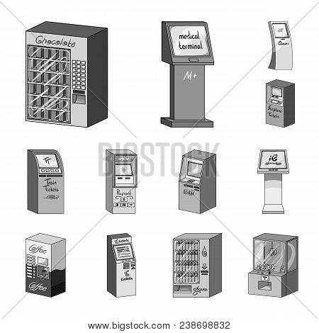 Variety Of Terminals Monochrome Icons In Set Collection For Design. Atm And Trading Device Vector Sy