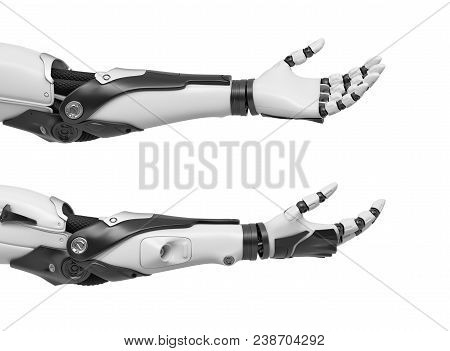 3d Rendering Of Set Of Two Black And White Robotic Hands With Palms Open And Fingers Relaxed And Sti