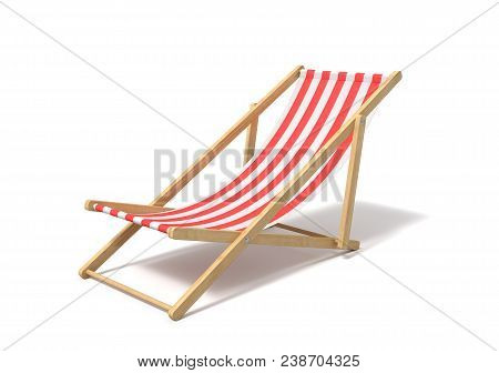 3d Rendering Of A White Red Deckchair Isolated On A White Background. Getting Tanned. Beach Furnitur