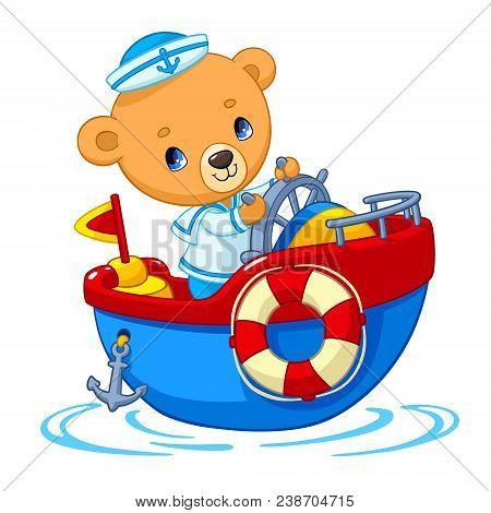 Bear Sailor On Boat Cartoon Vector Illustration For Kid Birthday Greeting Card Or T-shirt Print Desi