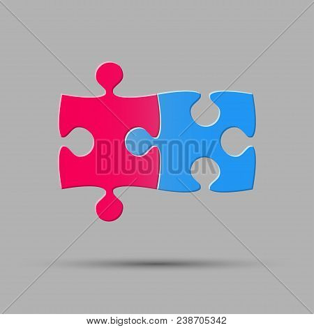 Two Blue Pink Piece Puzzle Infographic Presentation. 2 Step Square Diagram. Section Compare Service